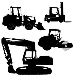 Machinery set silhouettes road service vector