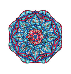 mandala doodle drawing round ornament red and vector image