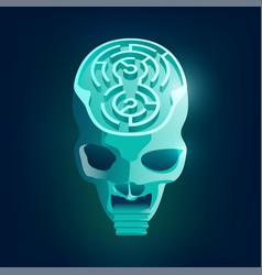 maze skull vector image