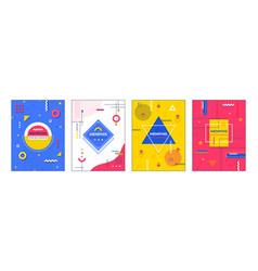 memphis posters minimal geometric banner graphic vector image