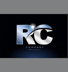 Metal blue alphabet letter rc r c logo company vector