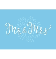 Mr Mrs Wedding simple lettering decor vector image