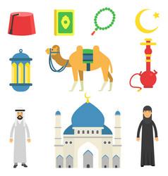 National muslim cultural symbols koran rosary vector