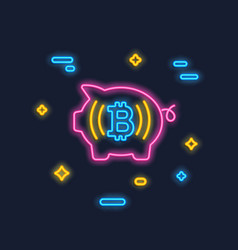 Neon bitcoin and piggy logo crypto currency icon vector