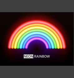 neon rainbow glowing multicolored brushes vector image