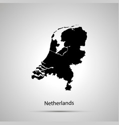netherlands country map simple black silhouette vector image
