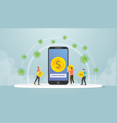 Online mobile smartphone donation people for vector