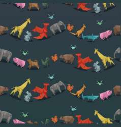 origami wild paper animals creative decoration vector image