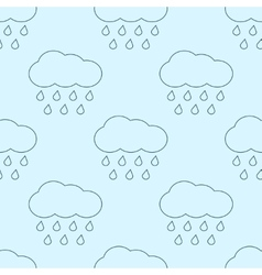 Outline rainy clouds seamless pattern vector
