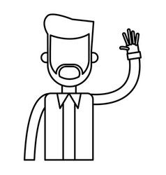 Outlined bearded man hand up design vector