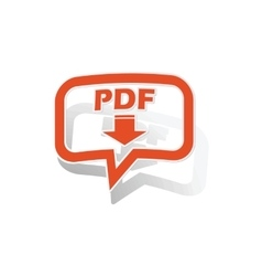 PDF download message sticker orange vector image