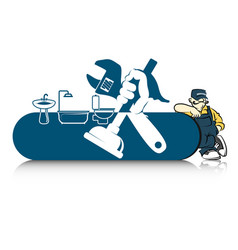 Plumber for repair with a tool vector