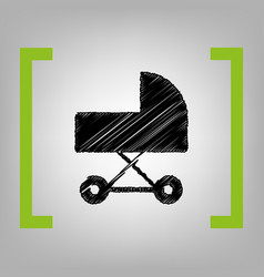 pram sign black scribble vector image