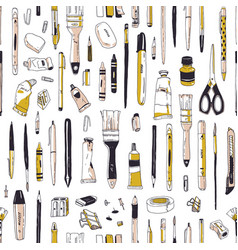 realistic seamless pattern with stationery vector image
