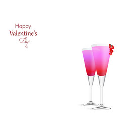 Romantic background with two pink cocktails vector