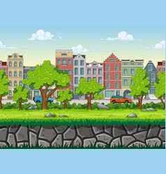 seamless cartoon cityscape background with vector image vector image