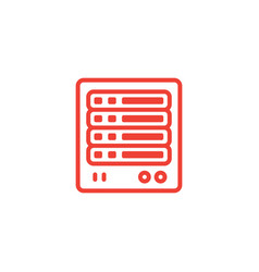 Server line red icon on white background red flat vector