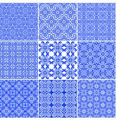 set elegant floral seamless greek patterns vector image