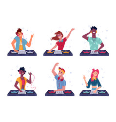 set isolated dj at turntable party music vector image