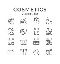 Set line icons cosmetics vector