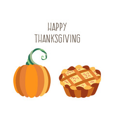 Set of thanksgiving pie and pumpkin vector