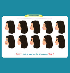 set of woman expression isolated vector image