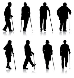 set silhouette of disabled people on a white vector image