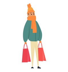 shopping man character with paper bags in his vector image