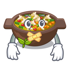 silent minestrone plate above mascot table vector image