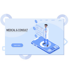 Smart technology in healthcare doctor stays on vector
