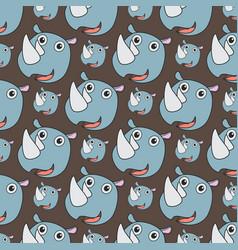 smile rhino seamless pattern vector image