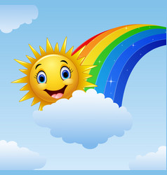 Smiling sun character near the rainbow and clouds vector