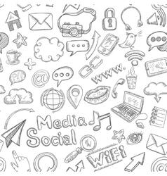 Social Seamless Doodle vector image