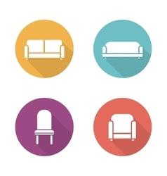 Soft furniture flat design icons set vector