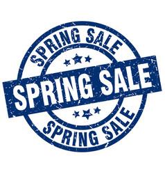 Spring sale blue round grunge stamp vector