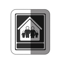 sticker of monochrome portrait of family in home vector image
