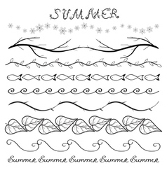 Summer hand drawn border set vector image