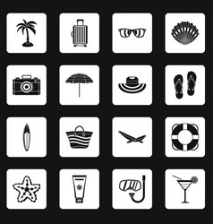 summer rest icons set squares vector image