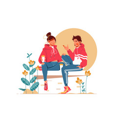 Sweet couple talking sitting on bench vector