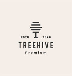 tree hive hipster vintage logo icon vector image
