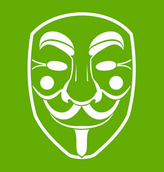 vendetta mask icon green vector image