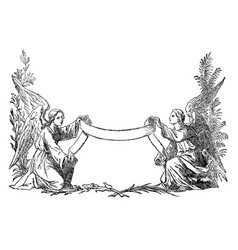 vintage drawing two angels holding decorative vector image