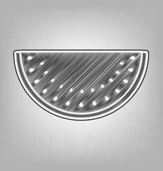 Watermelon sign pencil sketch imitation vector