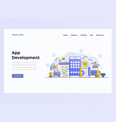 web design flat template concept app development vector image