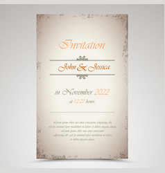 Wedding announcement in old style template vector