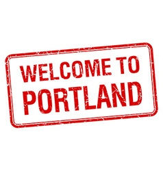 Welcome to Portland red grunge square stamp vector