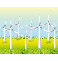 White windmills to generate energy on grass backgr vector
