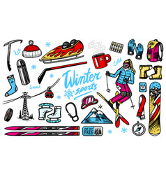 winter sports season vintage snowboarding and vector image