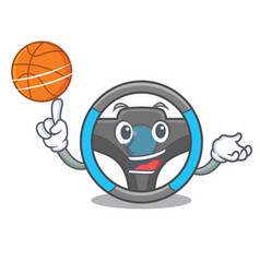 With basketball steering wheel isolated in the vector