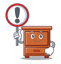 With sign wooden drawer character cartoon vector